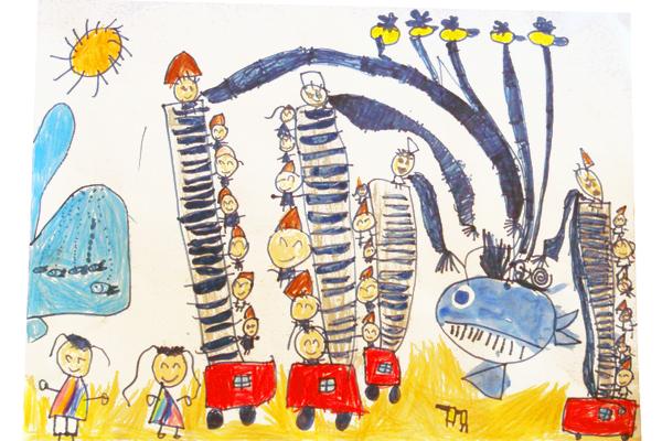 お話の絵「カタツムリと鯨」(5歳児)