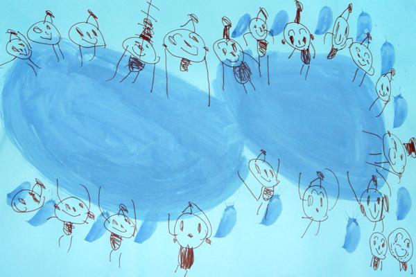 お話の絵「こびとのくつやさん」(3歳児)