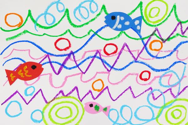 クレパスの線あそび「海の中」(4歳児)