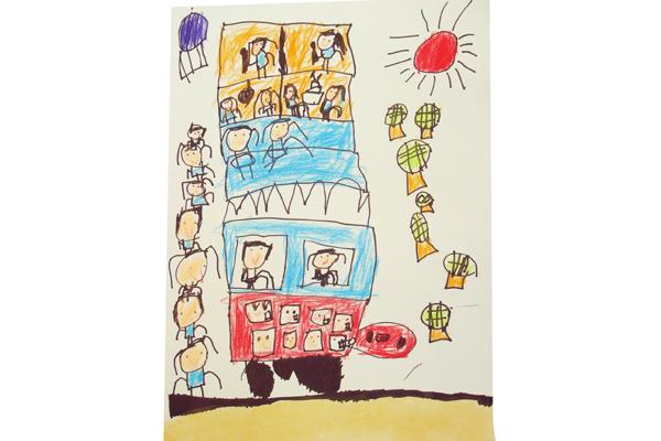 お話の絵「のせてのせて100かいだてのバス」(5歳児)
