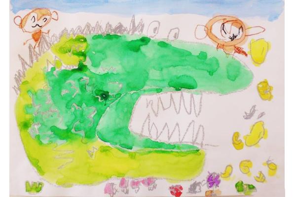 お話の絵「バナナわに」(4歳児)