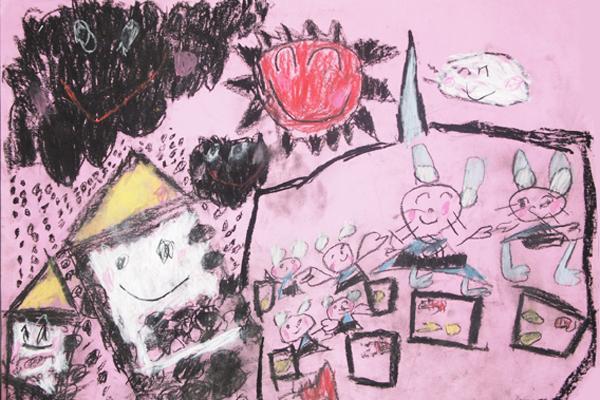 お話の絵「ねずみのよめいり」(5歳児)
