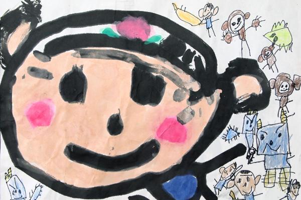 お話の絵「ももたろう」(5歳児)