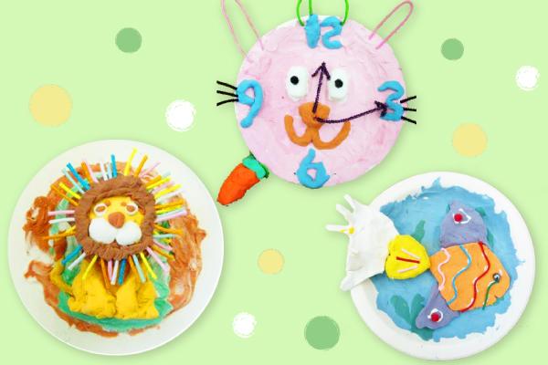 紙粘土を紙皿につけてつくる素敵な壁飾り(5歳児)