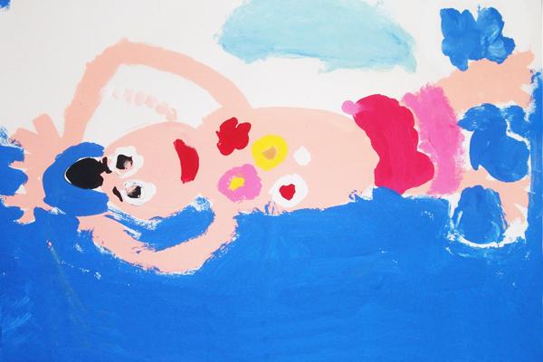 泳いでいる人を描こう!(4歳児,5歳児)