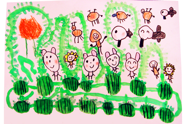 お話の絵「30000このすいか」(4歳児)