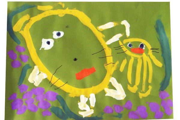 お話の絵「きつねとぶどう」(3歳児)