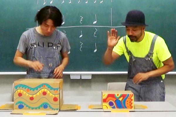 手づくり楽器で遊ぼう(6)ダンボールドラムで遊ぼう