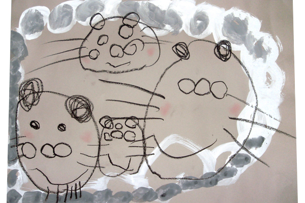 お話の絵「おむすびころりん」(3歳児)