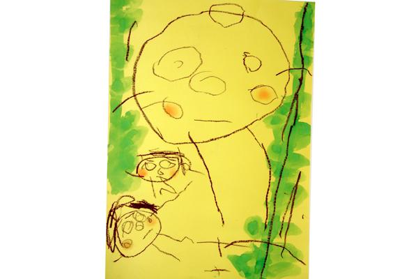 お話の絵「ジャックとまめのき」(3歳児)