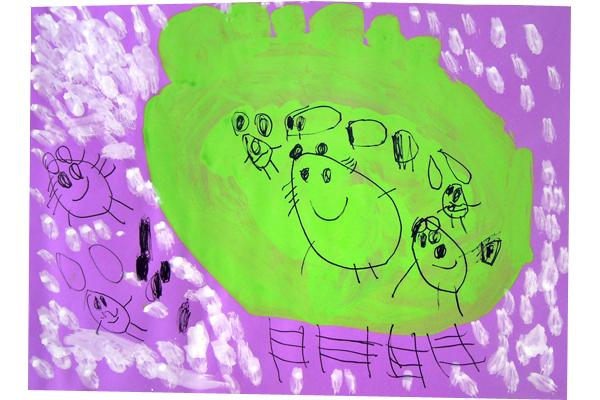 お話の絵「てぶくろ」(3歳児)