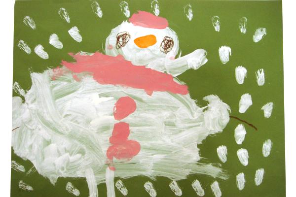 お話の絵「ゆきだるまはよるがすき」(3歳児)