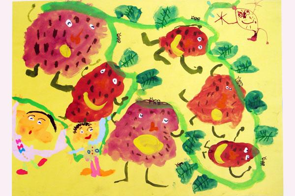 お話の絵「さつまのおいも」(4歳児)
