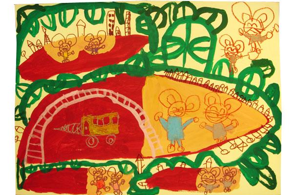 お話の絵「いもほりバス」(4歳児)