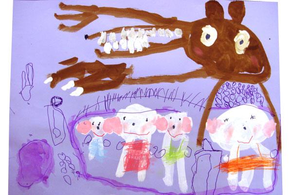 お話の絵「おおかみと7匹のこやぎ」(4歳児)