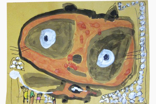 お話の絵「たぬきのいとぐるま」(5歳児)