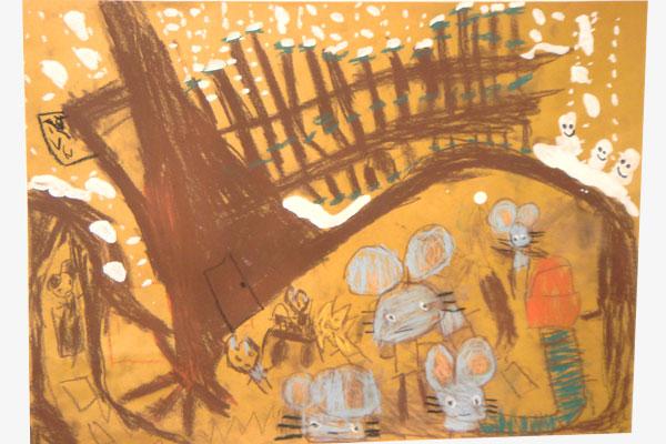 お話の絵「ねずみのおいしゃさま」(5歳児)